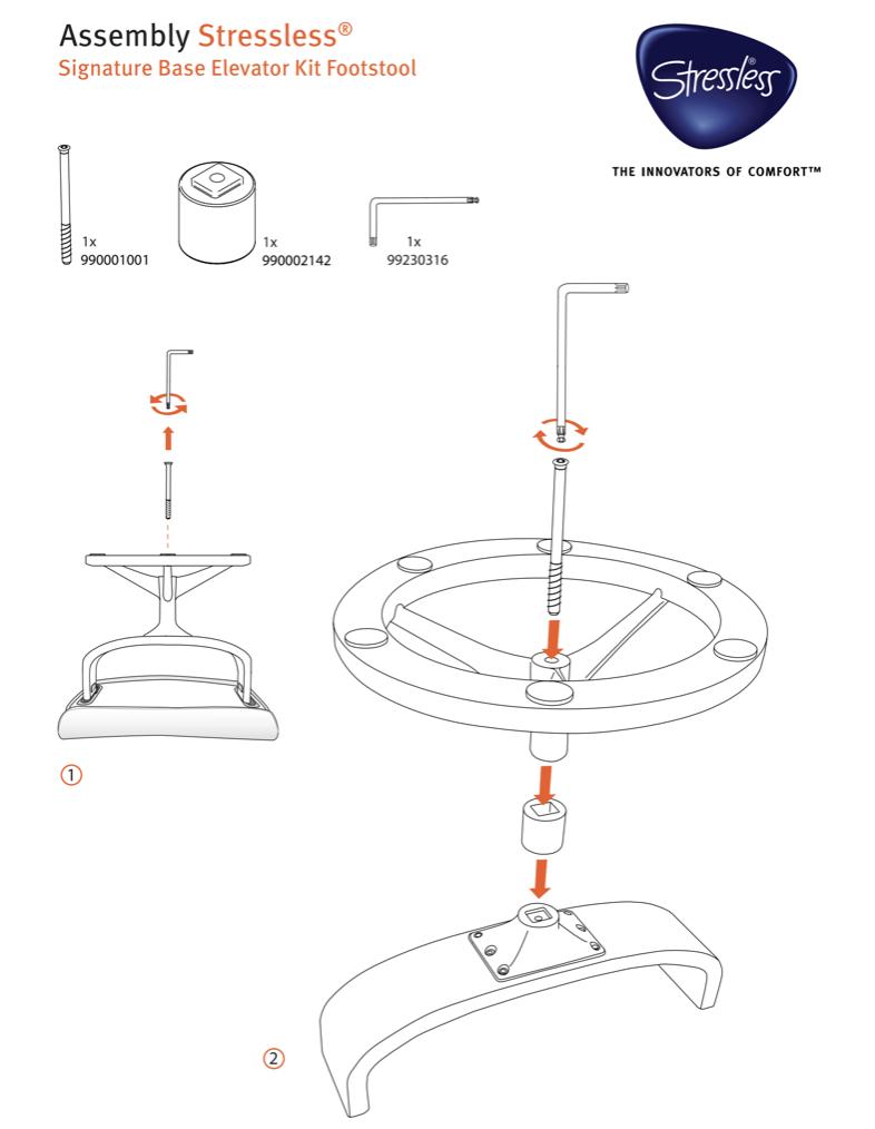 Ekornes Stressless Elevator Kit for Signature Base Models- Instructions
