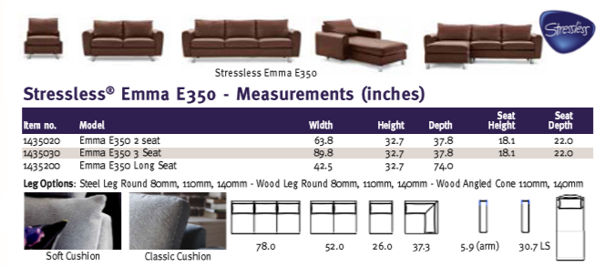Stressless Emma E350 furniture family dimensions.
