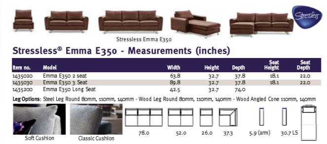Stressless Emma E350 furniture family dimensions.