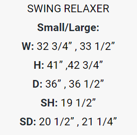 The Miami Swing Relaxer dimensions.