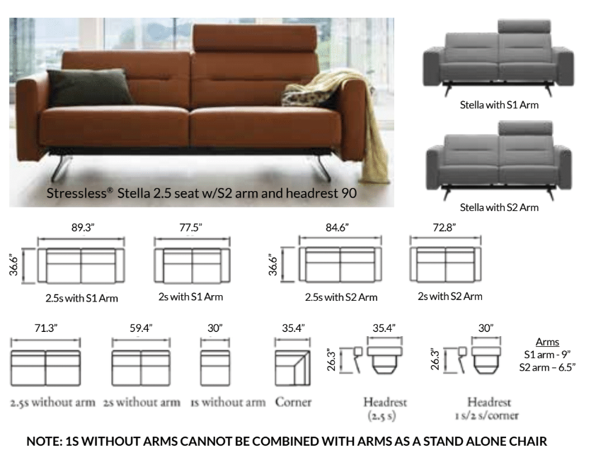 The Stressless Stella Sofa family dimensions.