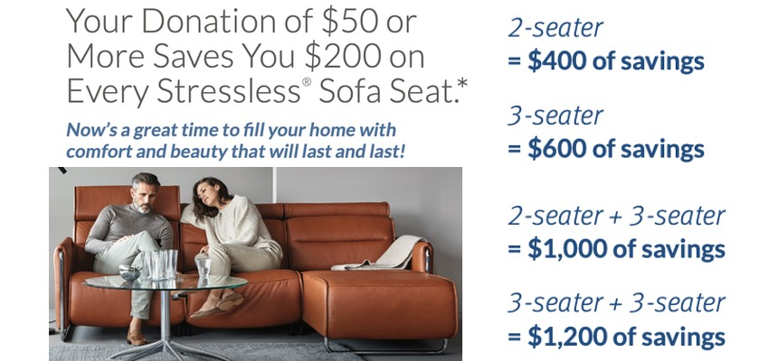 Stressless Charity Promotion banner for furniture