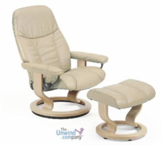Stressless Consul Small Recliner and Ottoman