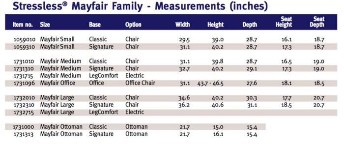 Stressless Mayfair Office Family Measurements
