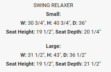 The dimensions for the Small and Large Sydney Swing Relaxer.