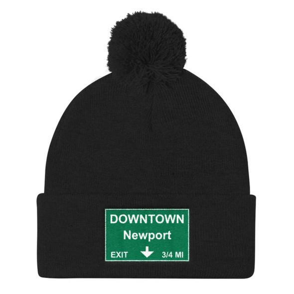Downtown Newport Exit Pom Pom Knit Cap