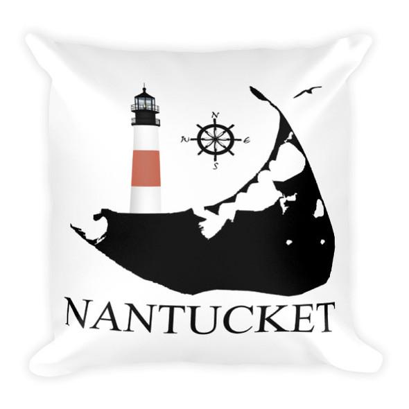 Sankaty Head Lighthouse Square Pillow-Black Logo