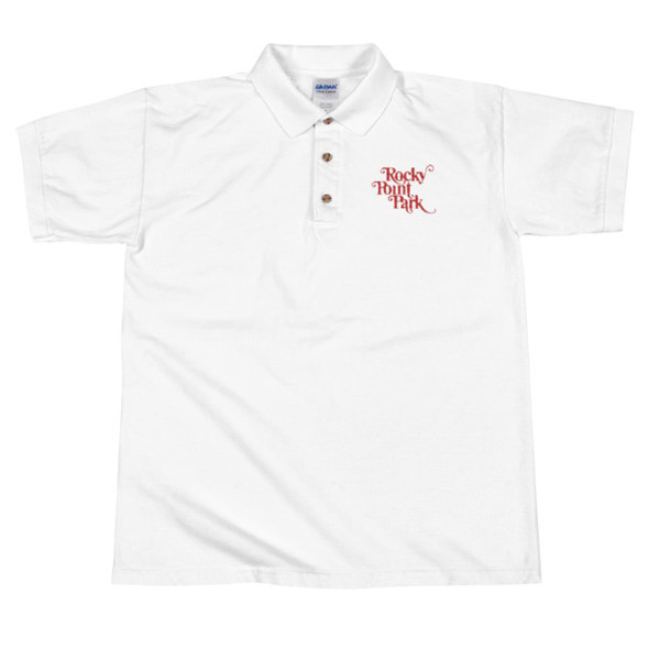 Rocky Point Park - Red Embroidered White Polo Shirt