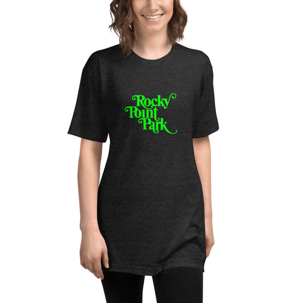 Rocky Point Park Green Logo Unisex Tri-Blend Track Shirt
