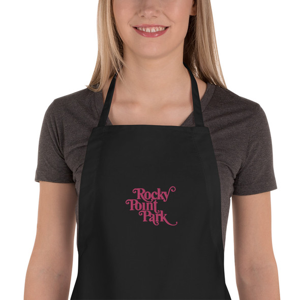 Rocky Point Park Embroidered Apron Flamingo Pink Logo