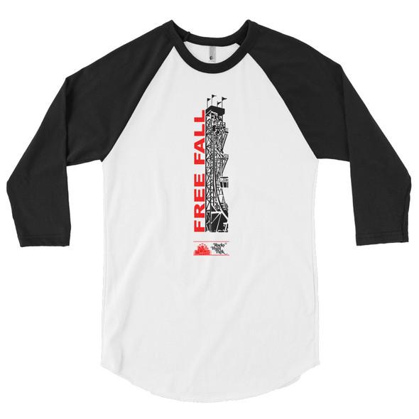 Rocky Point Park Free Fall 3/4 sleeve raglan shirt