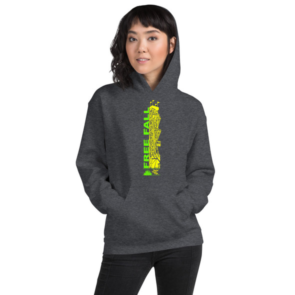 Rocky Point Park Free Fall Green/Yellow Logo Unisex Hoodie