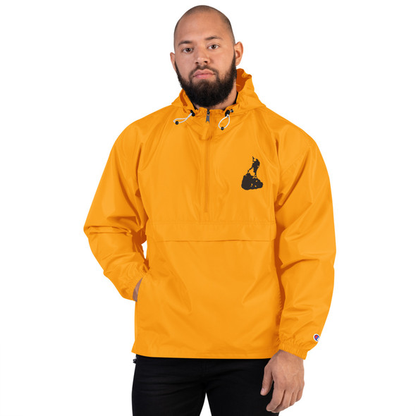Block Island Black Logo Embroidered Champion Packable Jacket