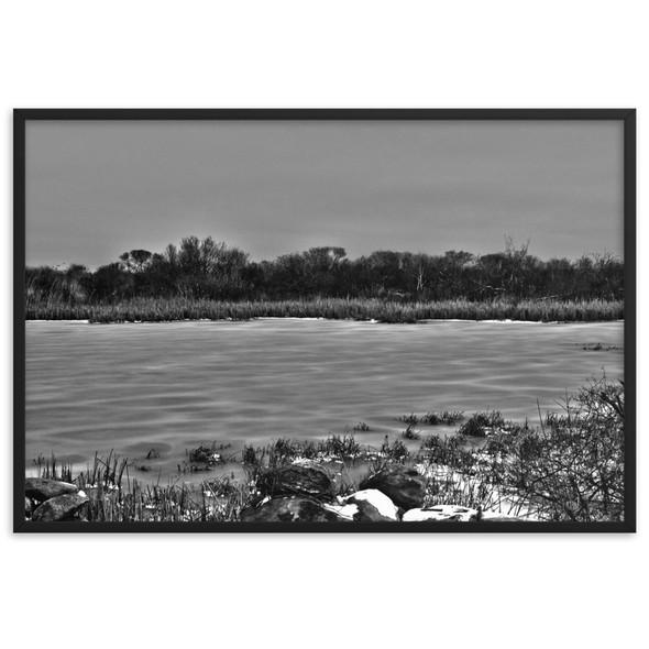 Frozen Salt Marsh Narraganett RI Framed matte paper poster
