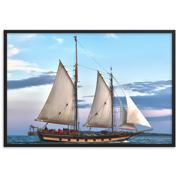 The Mystic Whaler Rounding Block Island Framed matte paper poster
