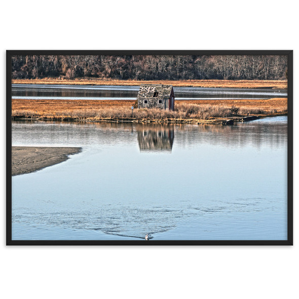 Salt Marsh Shack Framed matte paper poster