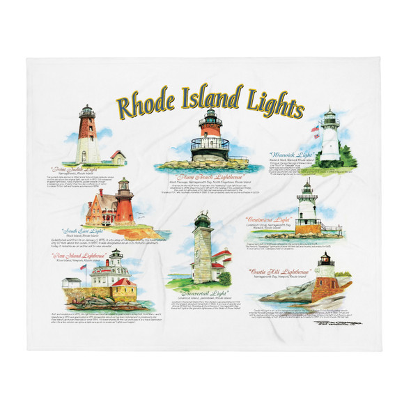 Rhode Island Lights by Frank Galasso Throw Blanket