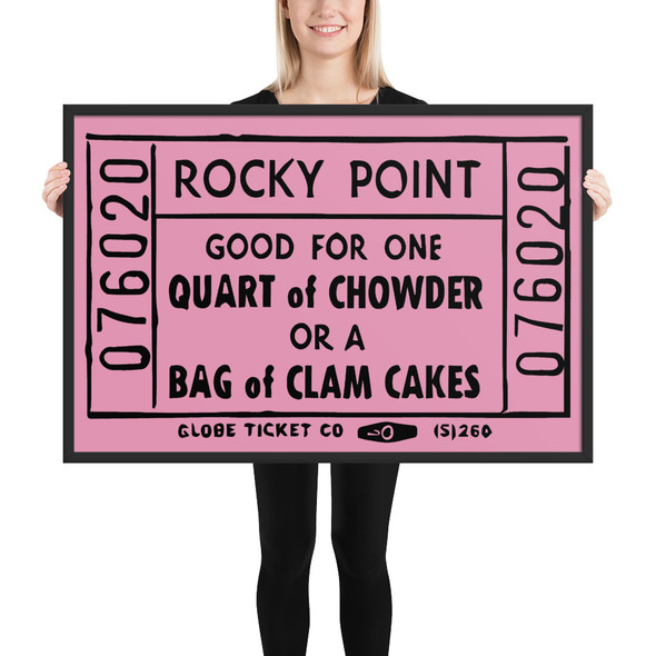 Rocky Point Chowder/Clam Cake Ticket Framed matte paper poster