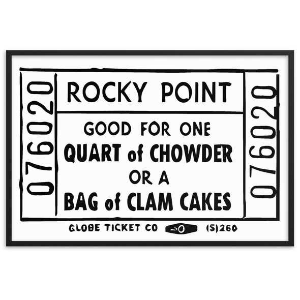 Rocky Point Chowder/Clam Cake Ticket 002 Framed matte paper poster