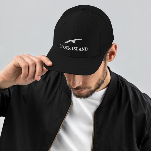 Block Island Gull White Logo Trucker Cap