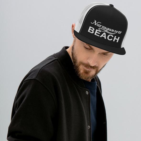 Narragansett Beach White Logo Trucker Cap