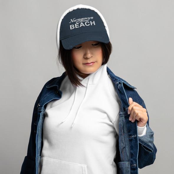 Narragansett Beach White Logo Distressed Dad Hat