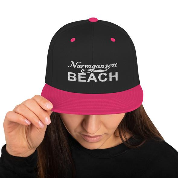 Narragansett Beach White Logo Snapback Hat