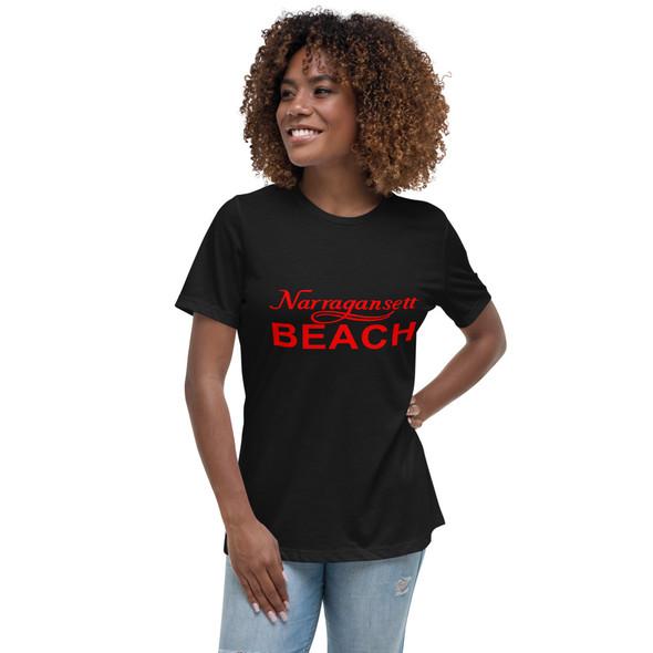 Narragansett Beach Red Logo Women's Relaxed T-Shirt
