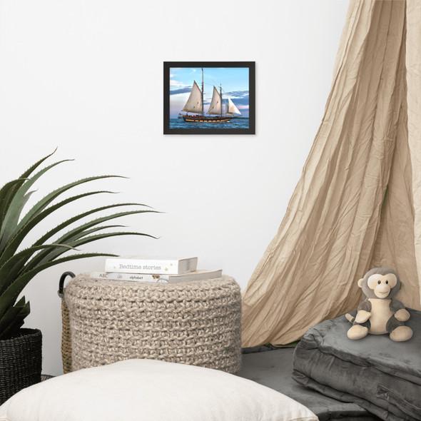 The Mystic Whaler Rounding Block Island Framed poster