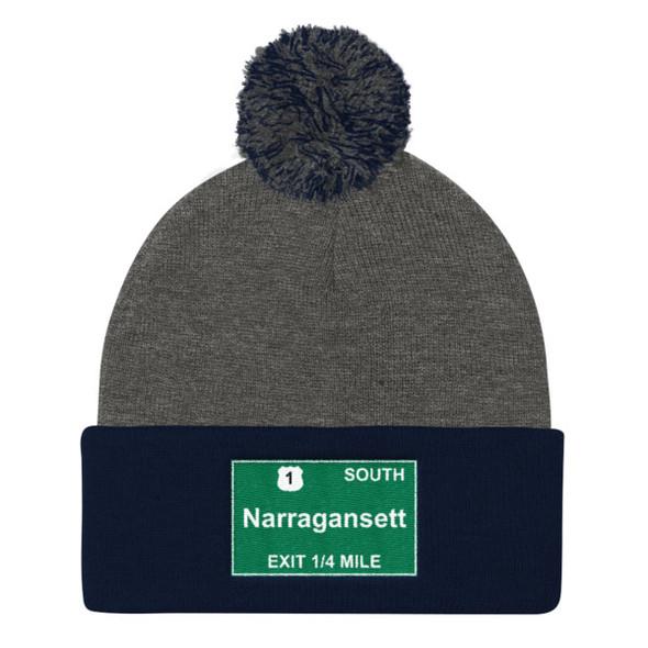 Narragansett Exit Pom Pom Knit Cap
