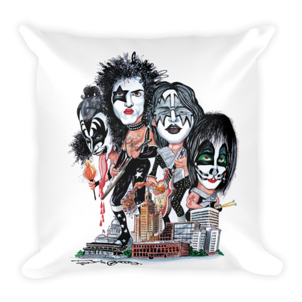 """""""Kiss Over Providence"""" Square Pillow by Frankie Galasso"""