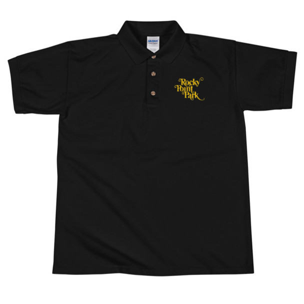 Rocky Point Park - Yellow Embroidered Black Polo Shirt