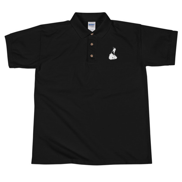 Block Island White Embroidered Black Polo Shirt