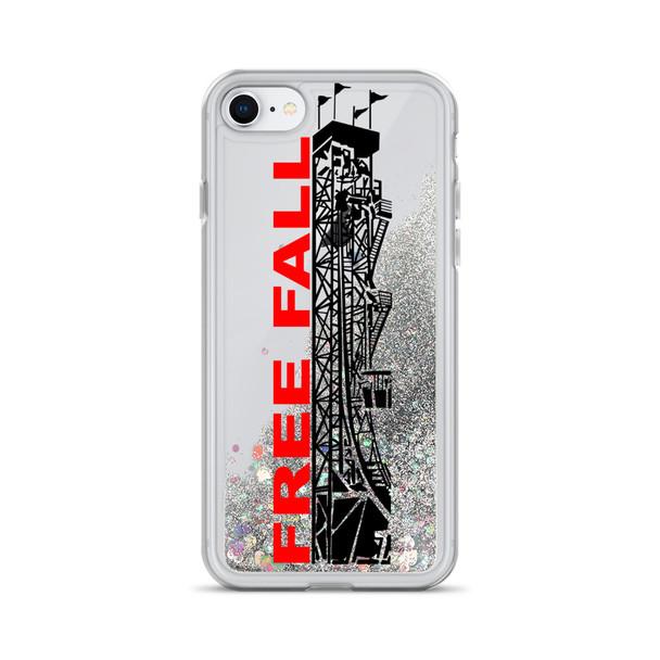 Rocky Point Park Free Fall Red/Black Logo Liquid Glitter Phone Case