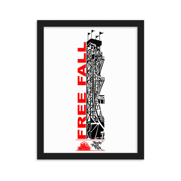 Rocky Point Park Free Fall Red/Black Logo Framed matte paper poster