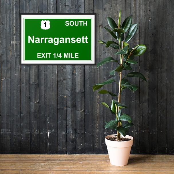 Narragansett RI Exit Framed matte paper poster