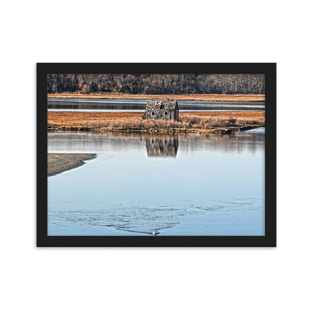 Salt Marsh Shack Framed matte paper poster