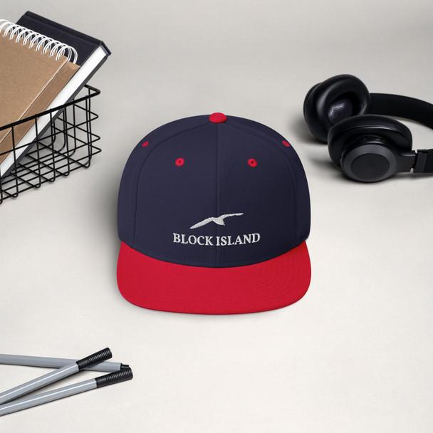 Block Island Gull White Logo Snapback Hat