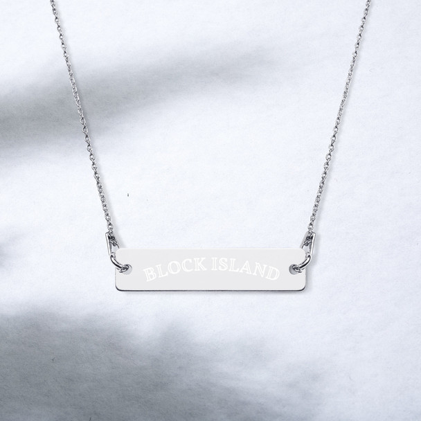Block Island Engraved Silver Bar Chain Necklace