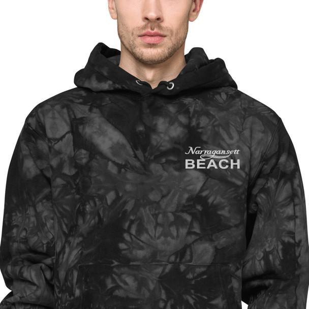 Narragansett Beach White Logo Unisex Champion tie-dye hoodie
