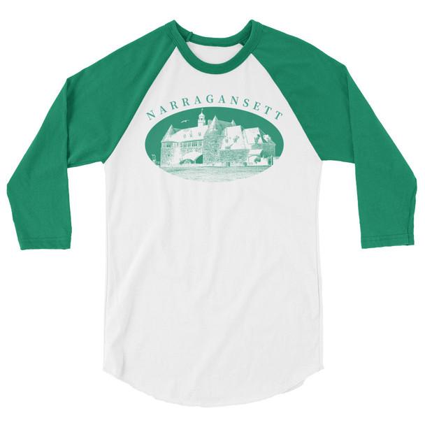 Narragansett Towers Kelly Green 3/4 sleeve raglan shirt