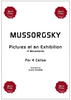 Cover of the cello ensemble sheet music for Pictures at an Exhibition by Mussorgsky for cello quartet. As played and recorded by the Boston Cello Quartet.
