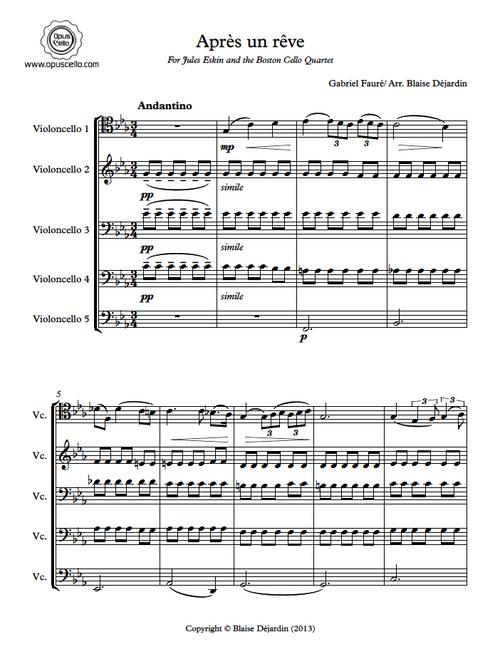 Gabriel FAURE, Apres un reve for 5 Cellos