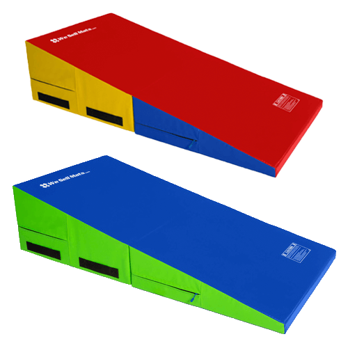 Lime green/blue gymnastics cheese wedge incline mat