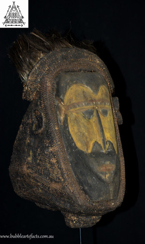Rare Powerful Fine Baba Helmet Mask w/ Spirit Face, Abelam, Sepik Region.