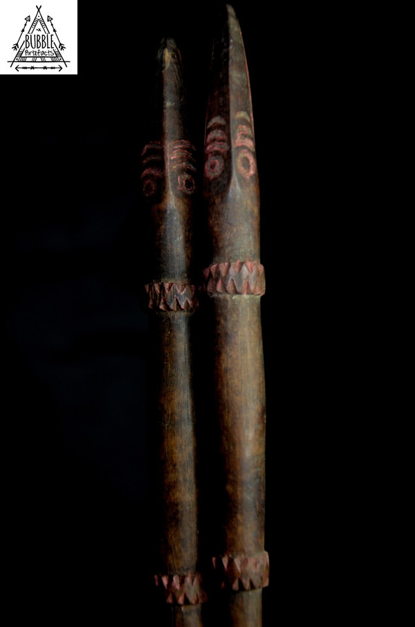 Fine Vintage Carved Sago Stirring Sticks, Sepik River