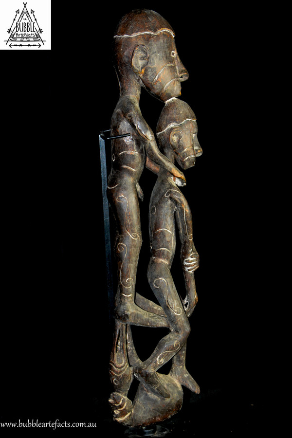 Exquisite Asmat Ancestor Figures (Male and Female), Casuarina Coast, West Papua