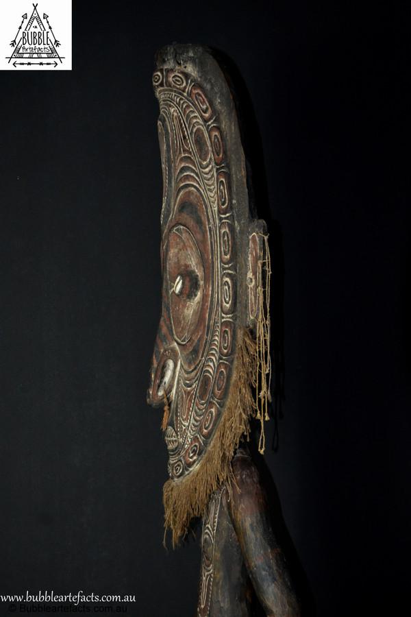 Huge Rare Old Carved Orator Stool, Mindibit, East Sepik