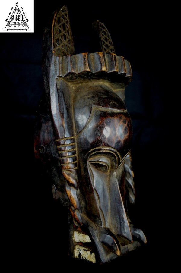 Stunning Vintage Tower Mask, Senufo, Ivory Coast