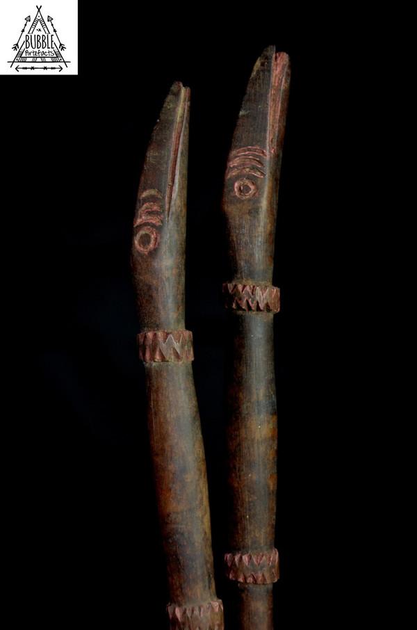 Fine Vintage Carved Sago Stirring Sticks, Sepik River
